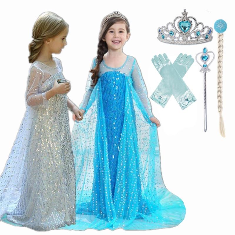 Elsa Dress Kids Dresses for Girls Anna Elsa Cosplay Costume Toddler Carnival Party Princess Sleeping Beauty Rapunzel Clothing