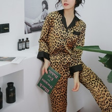 Silk Pajamas Set For Women Long Sleeve Pyjamas Leopard Print Loungewear Sexy Sleepwear Ladies Evening Dress 2020 Spring Summer