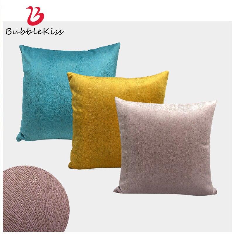 Burbuja Kiss funda de cojín suave de Color sólido zorro terciopelo almohada cubierta sofá Sala decoración coche Set de funda de asiento cojín