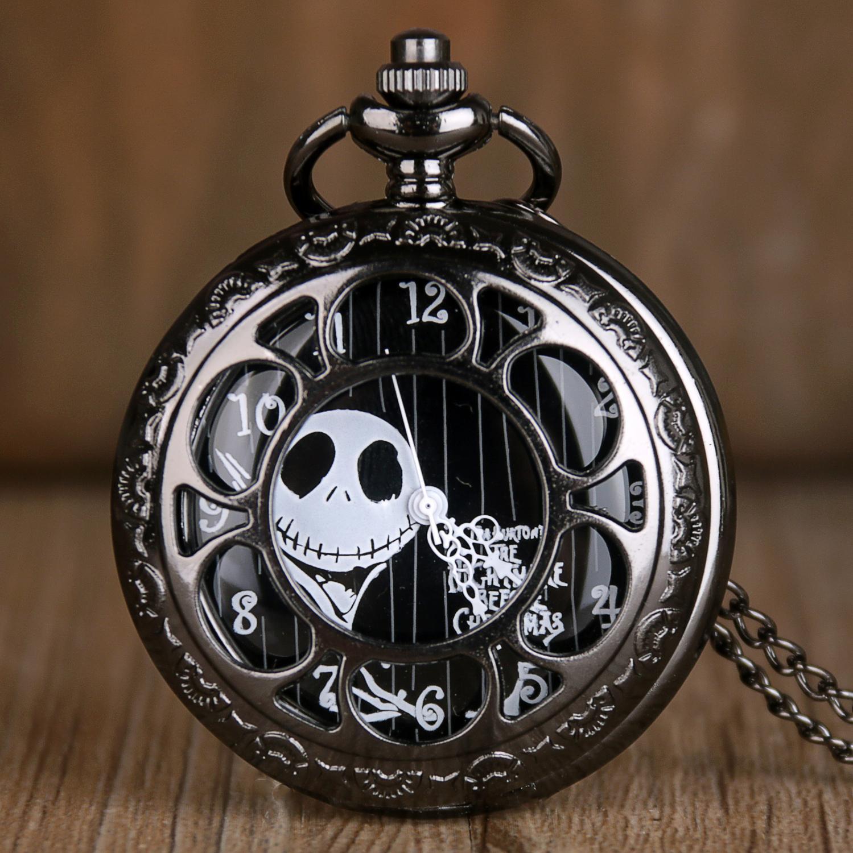 Relógio de bolso oco preto, pesadelo noites antes do natal, quartzo, jack, skellington, filme burton, pingente, colar, relógio