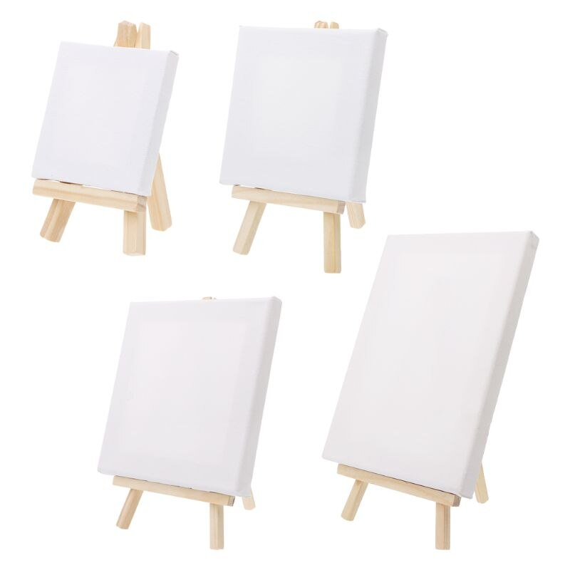 Mini Canvas And Natural Wood Easel Set For Art Painting Drawing Craft Drawing Set Painting Supplies Art Sets O28 19 Dropship