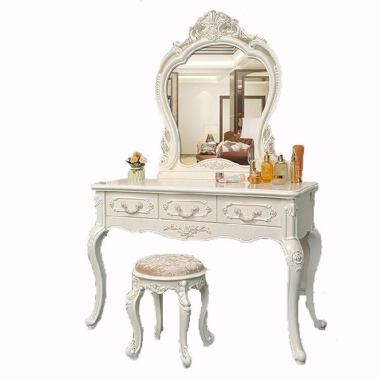 Europeu quarto penteadeira madeira maciça marfim branco ins penteadeira pentadeira toaletka maquiagem armário barato