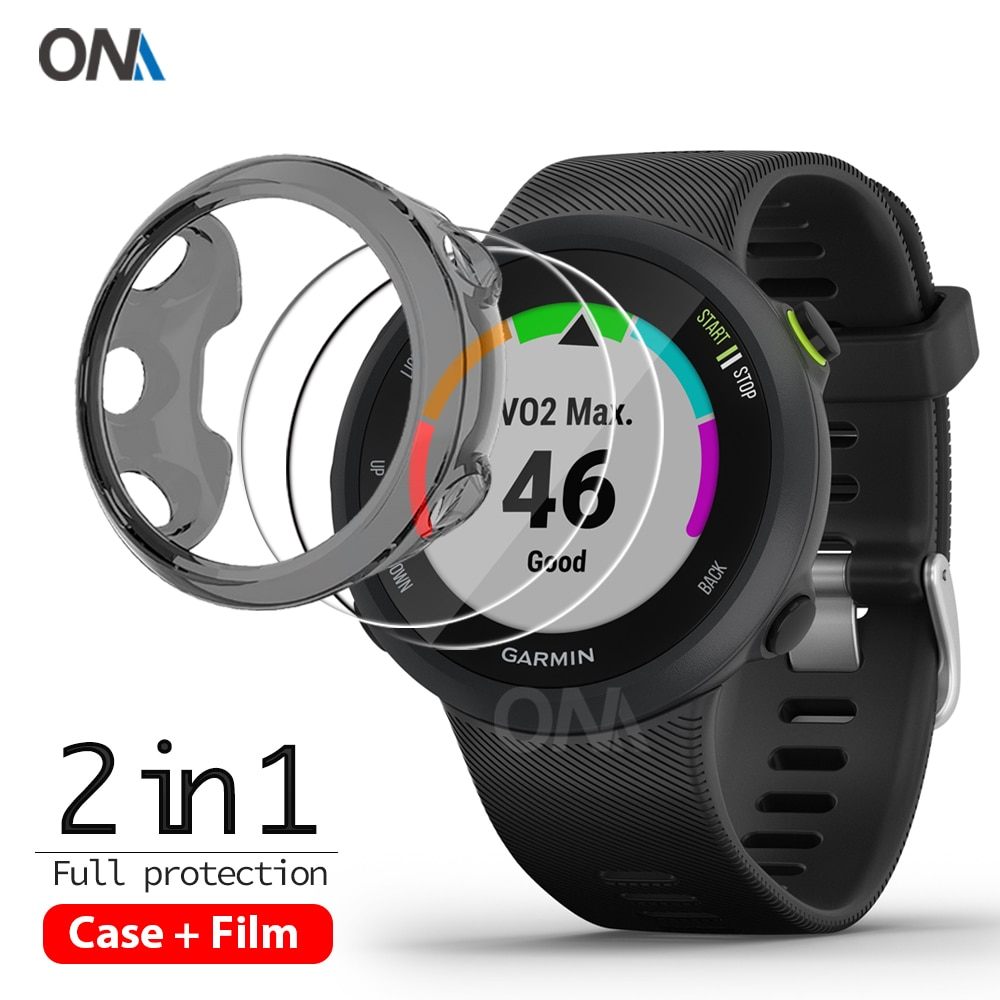 2+1 Protector Case + Screen Protector for Garmin forerunner 45 45S watch Soft TPU Protective Cover S