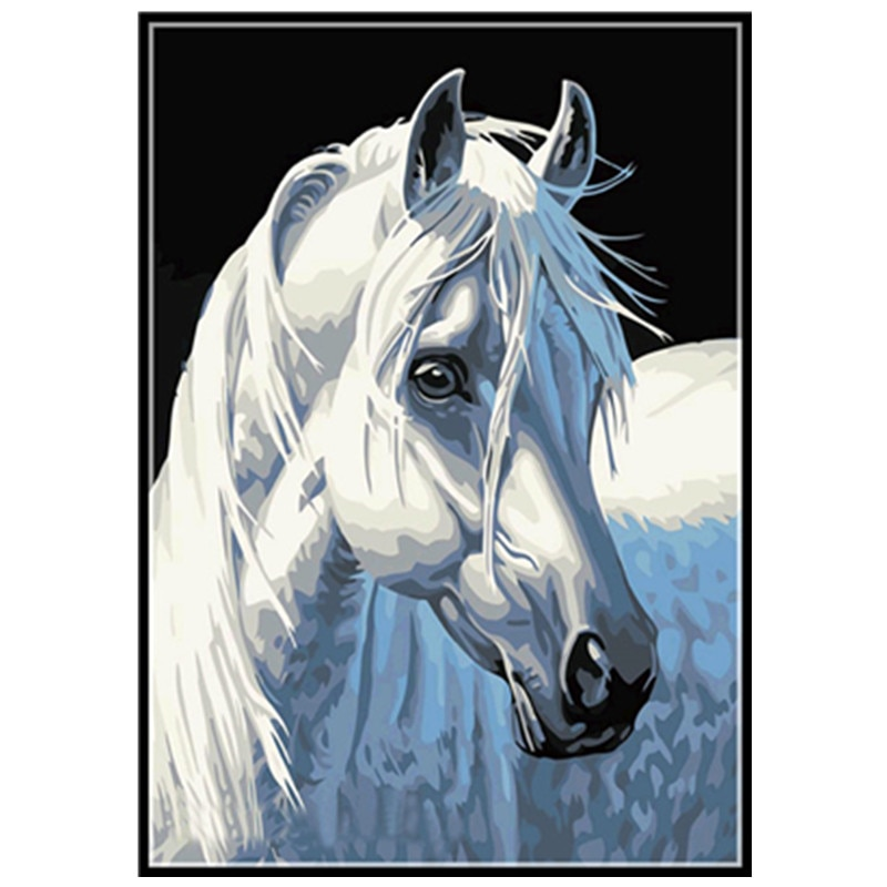 "5D DIY Diamond Painting Full Circle Diamond Embroidery ""Statue White Horse"" Painting Cross Stitch Mosaic Decoration Gift"