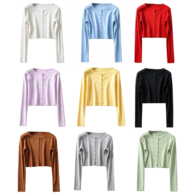 Women Long Sleeve Candy Color Cropped Cardigan Ribbed Knit Button Sweater Coat enlarge