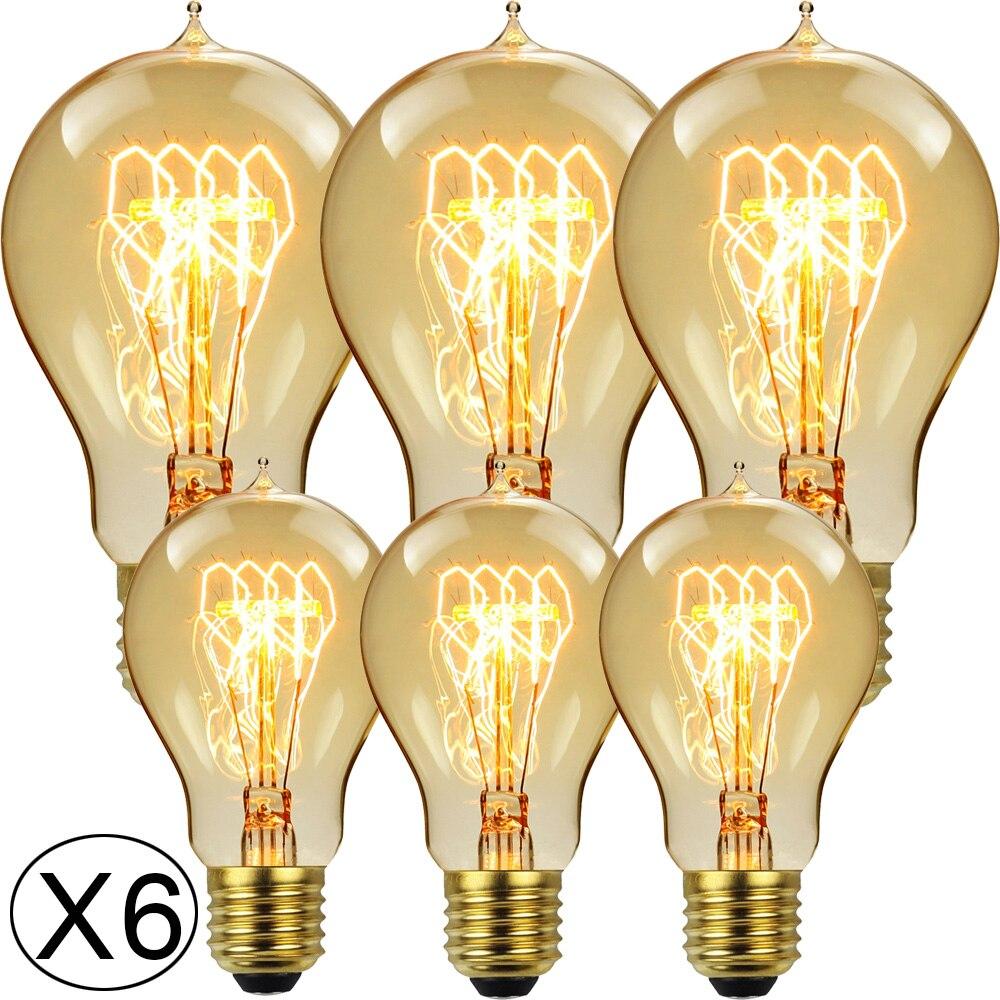 Лампа Эдисона TIANFAN A19/A60 Crown, 6 шт./упаковка, 40 Вт