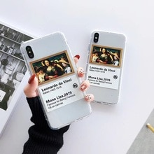 حار موضة الفن الموناليزا لينة غطاء من السيليكون لابل آيفون XS ماكس XR X 6 6S 7 8 plus شفاف تي بي يو الفاخرة الاتجاه غطاء الهاتف
