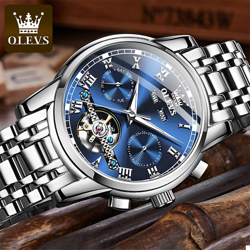 OLEVS 2021 New Luxury Men Hollow Out Automatic Mechanical Multifunctional Waterproof Luminous Stainless Steel Strap Watch 6607 enlarge