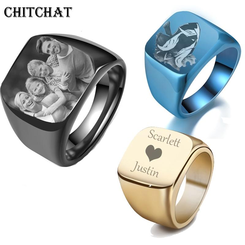 Мужские обручальные кольца с именем индивидуальная гравировка, кольцо с фотографией из нержавеющей стали, мужские кольца перстни на заказ