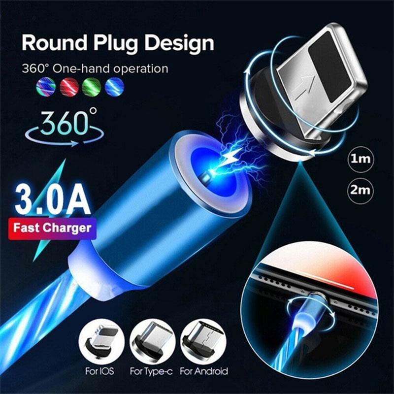 Cable USB 3 en 1 de carga rápida tipo C, cargador magnético,...