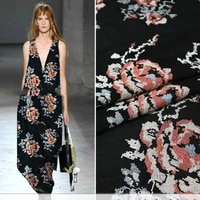 spring and summer thin rose cross embroidered dress fashion fabric sewing fabric factory shop is not out of stock