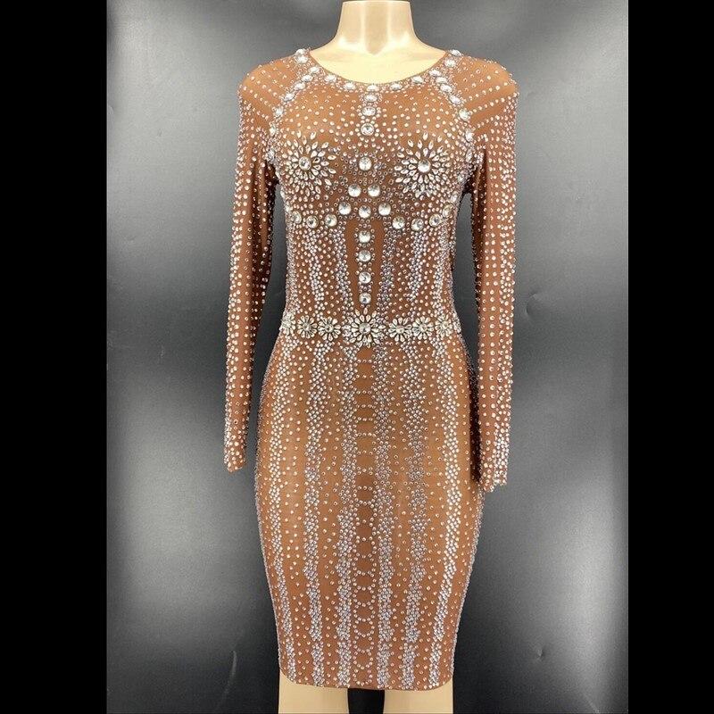 سباركلي الفضة حجر الراين كم طويل فستان من الشيفون مساء عيد ميلاد احتفال زي المرأة راقصة تظهر فستان YOUDU