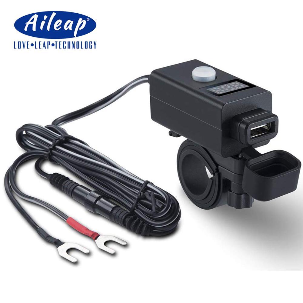 Cargador de teléfono para motocicleta Aileap y voltímetro rojo con interruptor de alimentación 5V 2.1A adaptador de puerto USB para iPhone, Samsung, Huawei, OnePlus