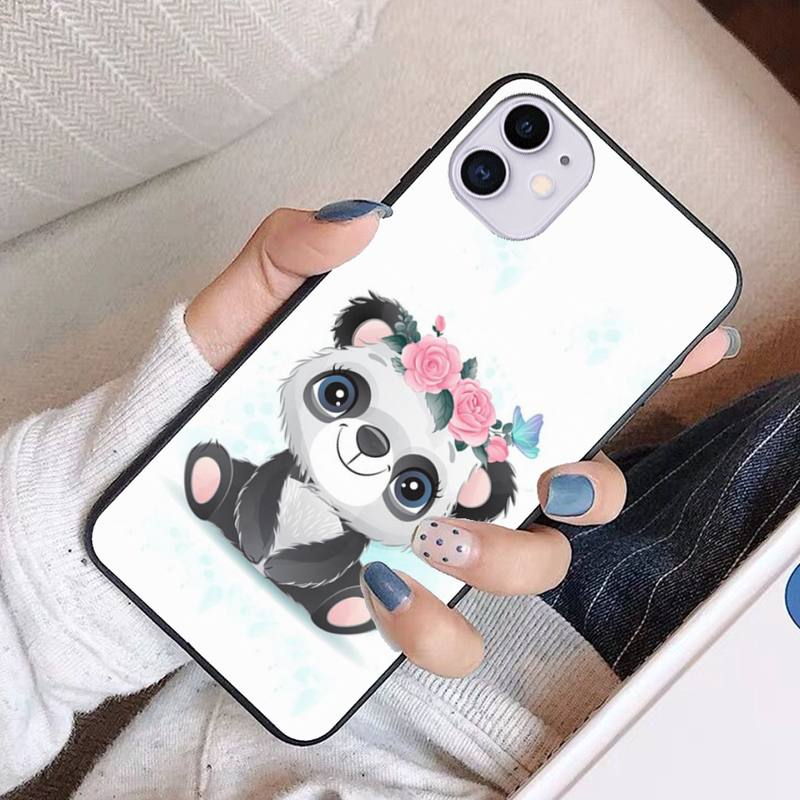 For Iphone 11 Case Accessories Cute Panda Cartoon Coque Funda Carcasa Etui Capas for Iphone 11 12 Pro XS Max Cases Kawaii Cover  - buy with discount