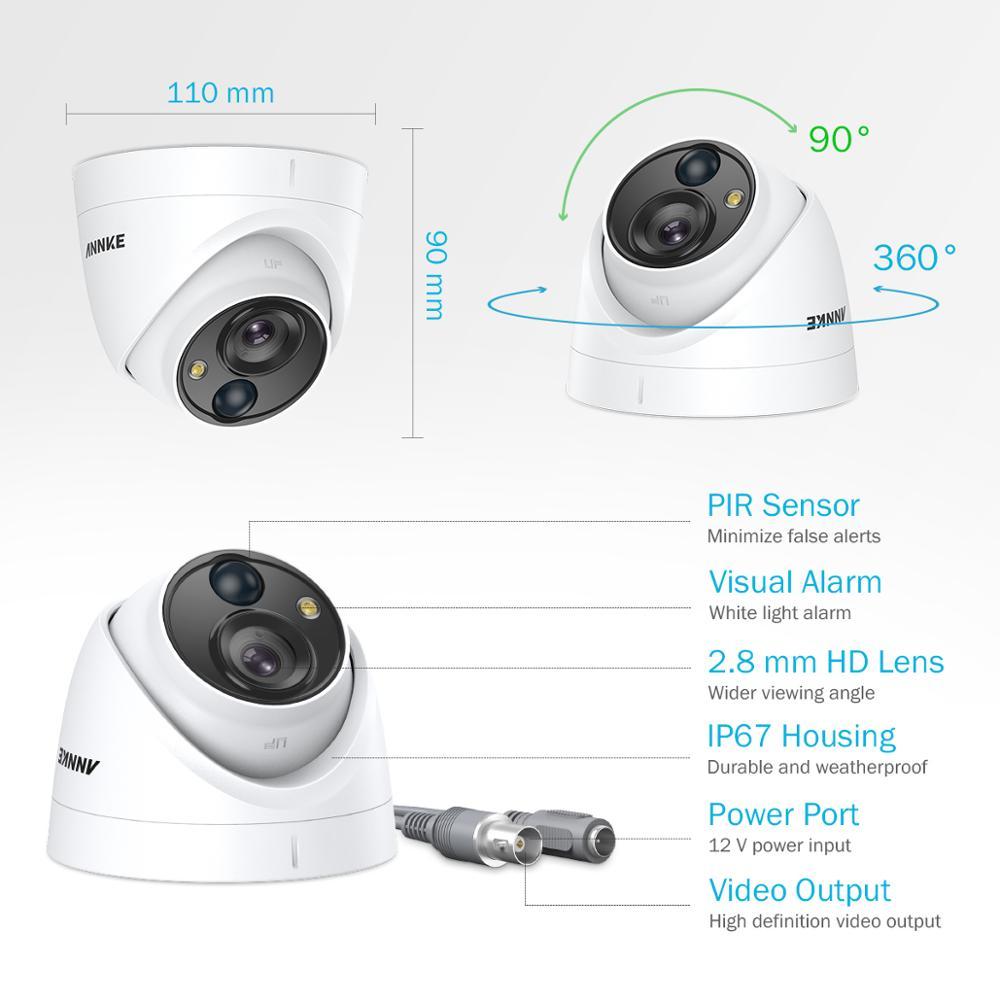 ANNKE 4pcs 5MP CCTV Cameras IP67 Waterproof Video Surveillance Outdoor Dome Camera IR Cut Filter Camera Kit