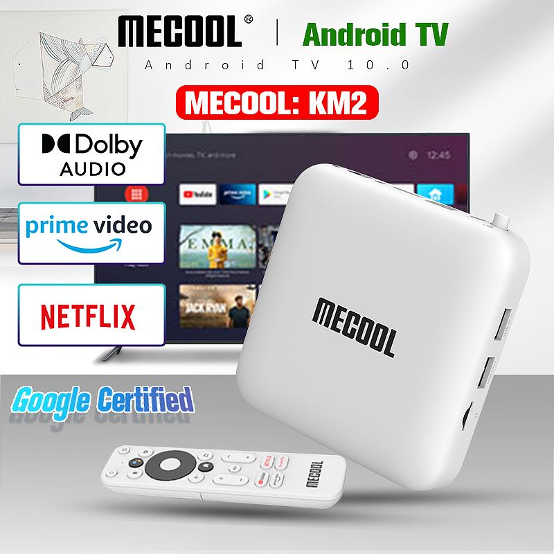 MECOOL KM2 Amlogic S905X2 مربع التلفزيون الذكية Netflix 4K أندرويد 10.0 2GB DDR4 8GB EMMC HDR 10 SPDIF إيثرنت واي فاي Widevine L1 TVBOX