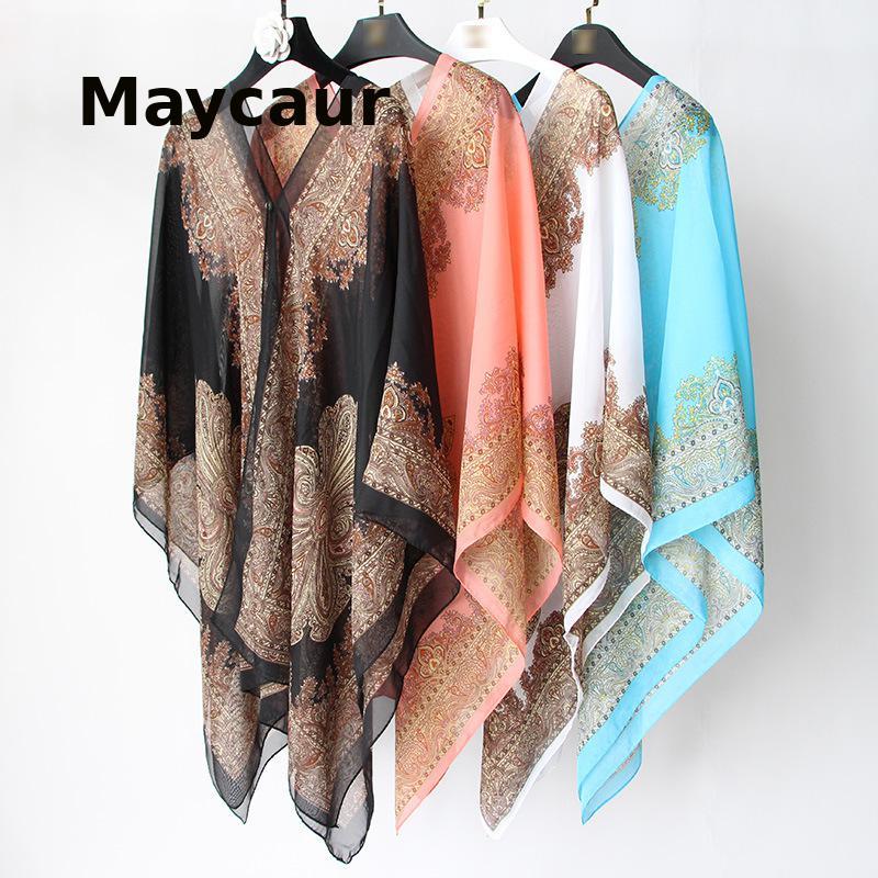 Summer Variety Shawl Silk Scarf Multifunctional Magic Chiffon Shawl Women Sunscreen Extra Long Beach Towel Scarf All-Match