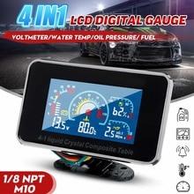 12 v/24 v 4in1 LCD Auto Digitale ALARM Gauge Voltmeter Öl Druck Kraftstoff Wasser Temp meter 1/8 NPT öl Druck sensor
