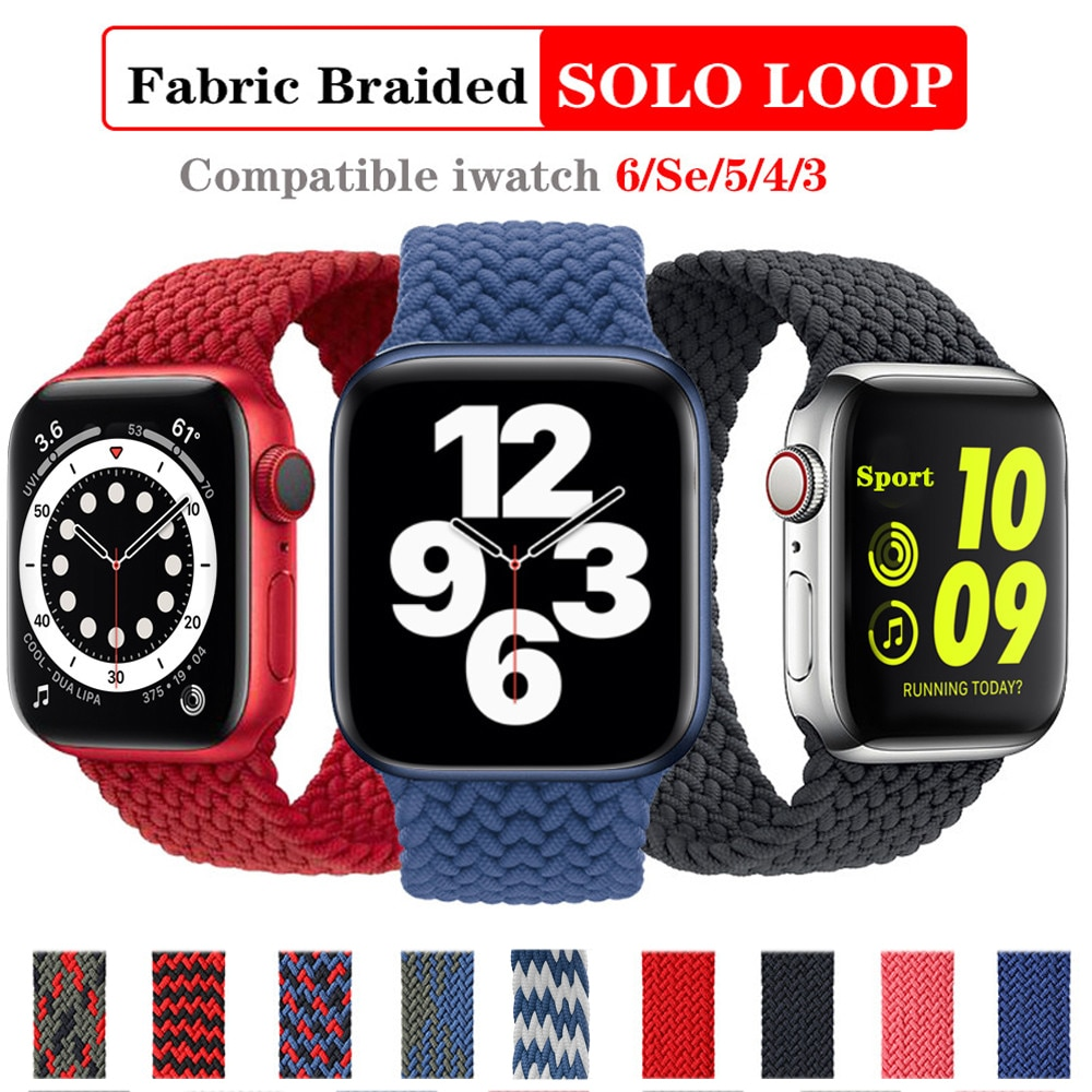 Solo Loop Nylon Fabric Strap for Apple Watch Band Braid 44mm 40mm 38mm 42mm Elastic Sports Bracelet for IWatch Series 6 SE 5 4 3