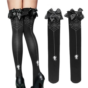 Fashion Spider With Net Print Stockings Velvet Thigh High Stockings for Women One Size XRQ88