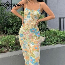 Rapcopter Floral Spaghetti Strap Midi Dress y2k Vintage Fashion Prom Sundress Backless Bow Women Sum