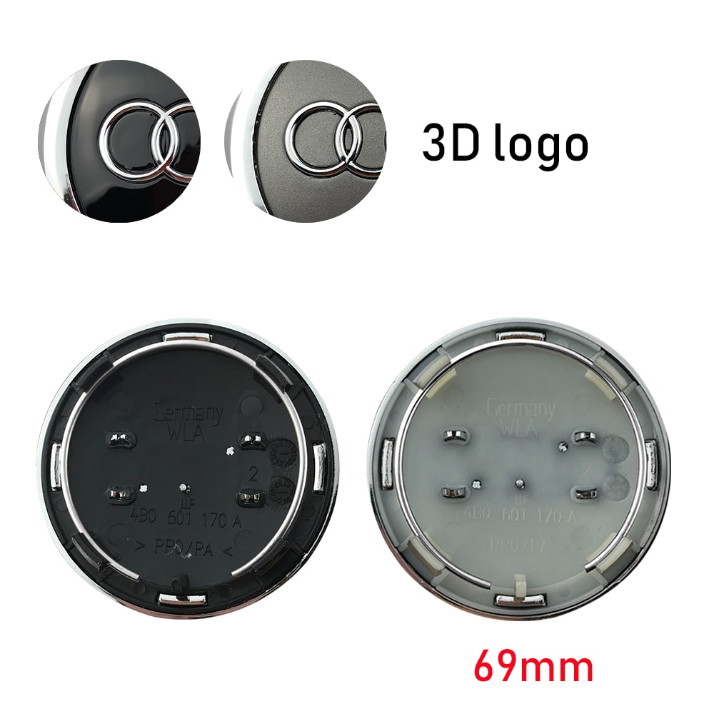 4 pçs 69mm cinza preto roda centro tampa tampas do cubo emblema do emblema para audi tt a3 a4 a5 a6 a7 a8 q5 r8 s4 s5 s6 4b0601170a