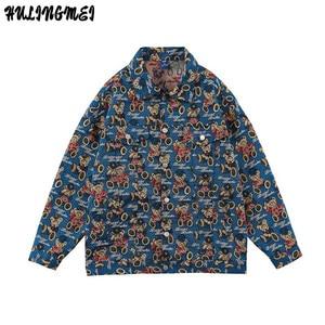 HLM Couple Vintage Jean Jacket Jacquard Cartoon Bear Casual Coat 2021 Spring and Autumn Japanese Loose Men's Tooling Tops
