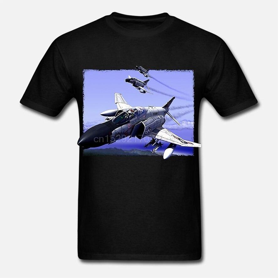 Nuevas camisetas casuales para hombres F-4 Phantoms Trio impreso gráfico de manga corta de algodón negro