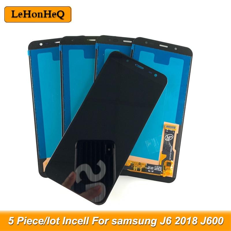 5 peças/lote lcd para samsung galaxy j6 2018 j600 j600f display lcd para samsung j600 incell tela de toque digitador assembléia