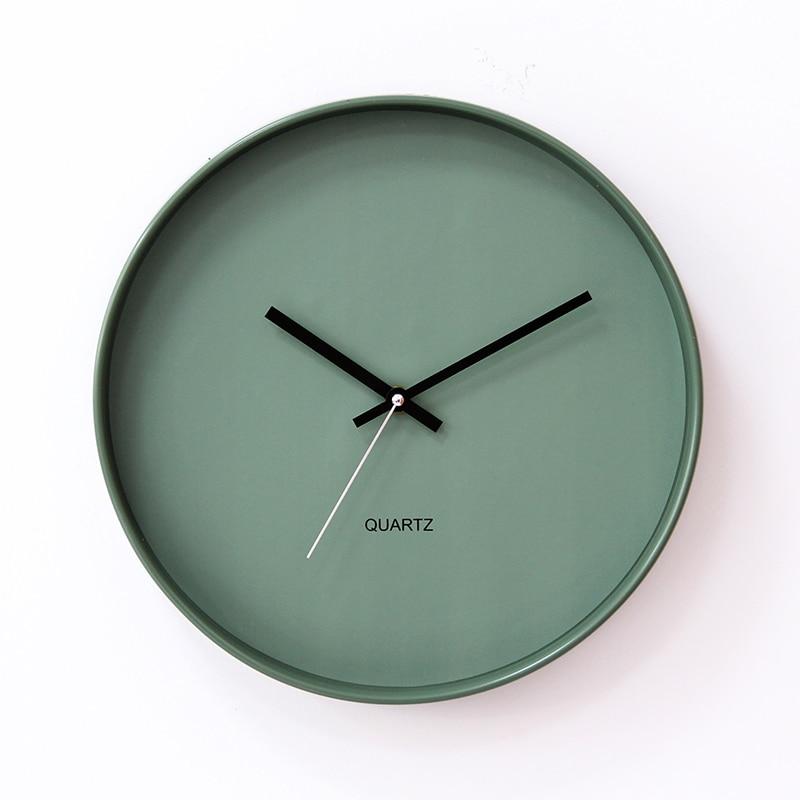 Nórdico moderno reloj De pared De plástico minimalista chica grande De pared silencioso arte del reloj verde redondo reloj De Parede reloj pared DE50WC