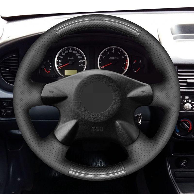 For Nissan Almera (N16) X-Trail Primera Caravan Expert Navara Pickup AD Black DIY Carbon Fiber Car Steering Wheel Cover