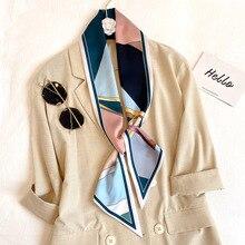 2020 nouvelle longue soie maigre écharpe femmes cheveux cou Foulard sac foulards imprimer dame Foulard cravate femme poignée ruban été