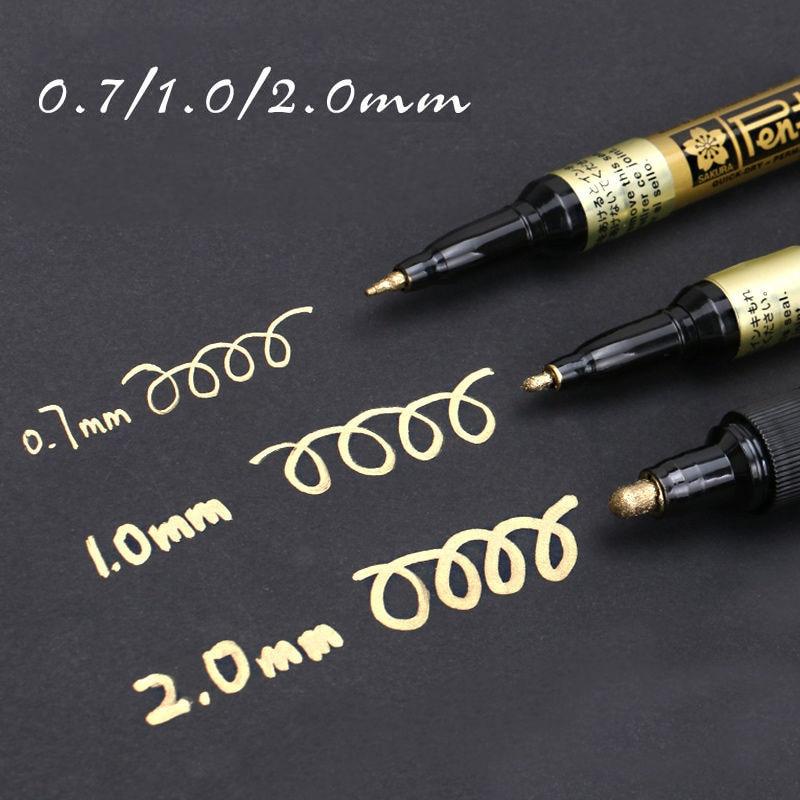 oro-argento-permanente-metallic-marker-penne-07-10-20-millimetri-studente-schizzo-graffiti-pennarelli-artistici-gancio-liner-pen-giapponese-cancelleria