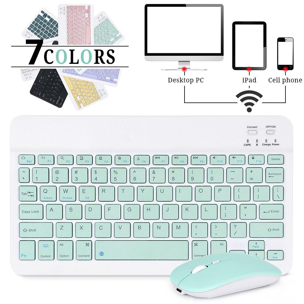 لوحة مفاتيح لاسلكية صغيرة لباد الهاتف اللوحي لباد بلوتوث-متوافق مع لوحة المفاتيح والماوس لسامسونج أندرويد