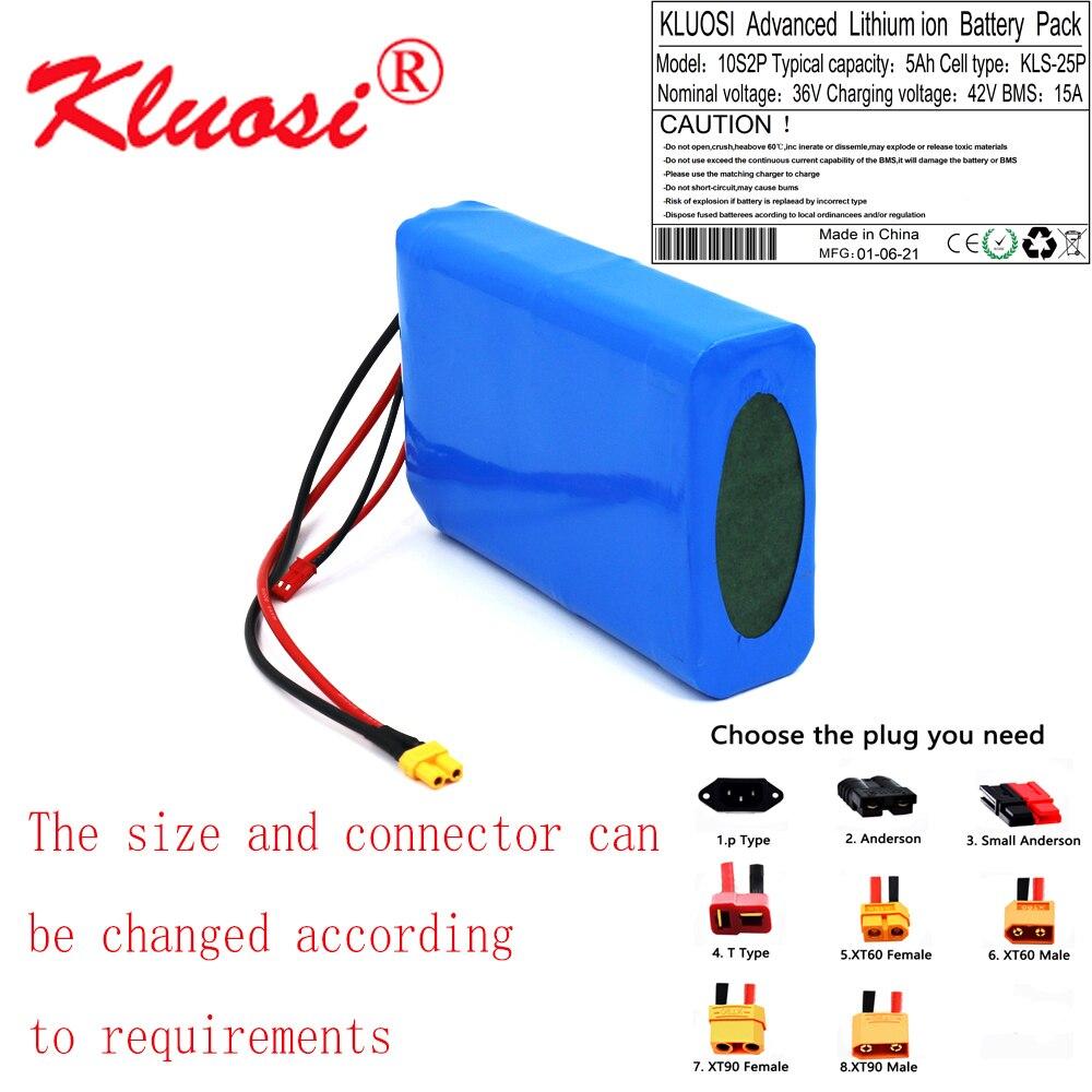 KLUOSI-بطارية ليثيوم 36 فولت ، 5 أمبير ، 10S2P ، 250 واط ، 350 واط ، 450 واط ، 42 فولت ، للدراجة الأحادية الكهربائية مع BMS 15a ، M365 Pro ، نطاق تمديد