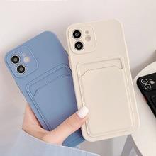 Funda con ranura para tarjeta para Iphone 11, carcasa de silicona líquida para Iphone 12 Pro Max XR 7 8 Plus SE 2020 X XS 12Pro Max Mini