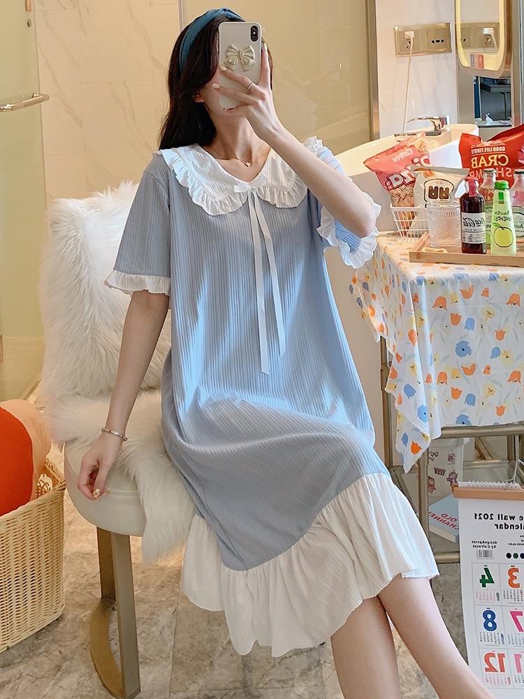 2021 New Nightdress Women's Summer Thin Cute Sweet Princess Korean Loose Cotton Pajamas Can Be Worn Outside