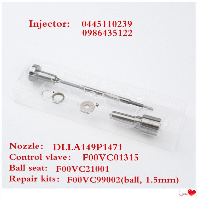 0445110239 injector common rail para DLLA149P1471 bico F00VC01315 e anel de vedação da válvula de controlo correspondentes F00VC99002 bola preta