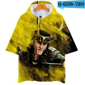 3D LOKI The Dark World Hoodie T-shirt Men Boy Summer Soft Hip hop Clothes hoodies short-sleeved Tee hoodies fashion Tops