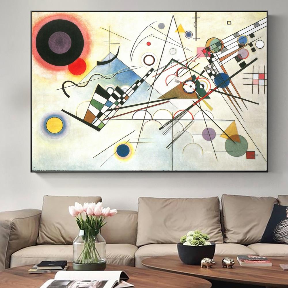 Wassily kandinsky geometria linha abstrata cartazes e impressões da arte da lona pintura na parede imagem para sala de estar decoração