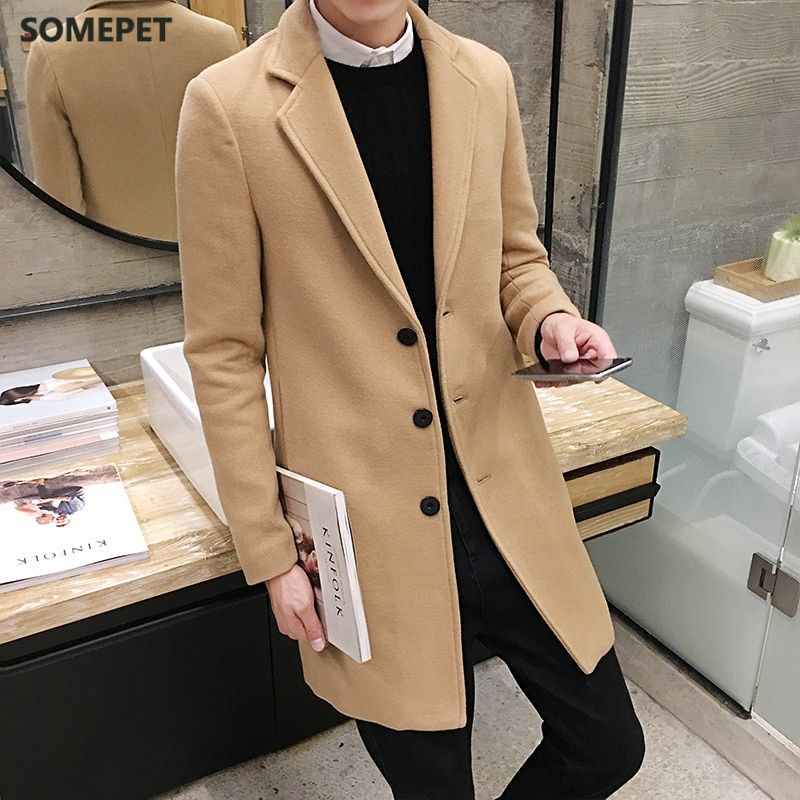 Autumn and winter new men's woolen coat 5XL large size slim long trench coat, fashion slim wild men's jacket