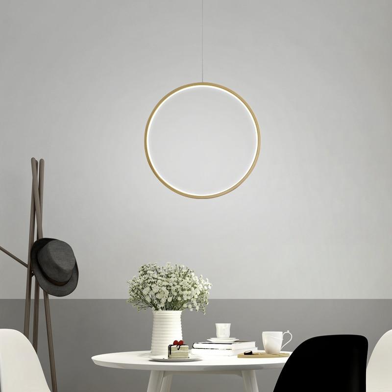 Minimalist Round Ring Circle Led Pendant Light Modern Living Dining Room Home Decor Hanglamp Kitchen Pendant Lamp Indoor Fixture