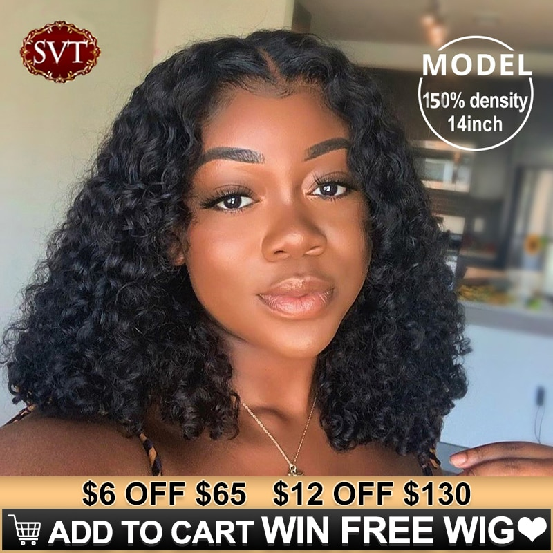 Brazilian Deep Wave Human Hair Bob Closure Wig Natural Hairline SVT Remy Hair Short Deep Curly Bob L