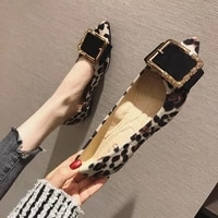lady shoes flat heel leopard fashion classic all match extra big size 44 45 46 small size 31 32 33 34 pointed toe women flats