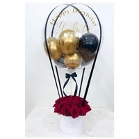 baloon flowers gift box packing lid wedding party cylinder candy round custom logo luxury cardboard rose bouquet package i love