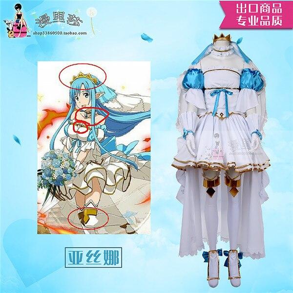 Sword Art Online SAOALO AsunaYuuki Update Weeding dress halloween cosplay costume for women