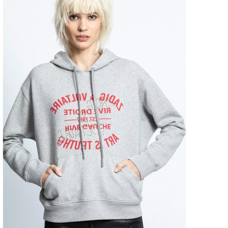 2020 outono inverno moda feminina classico com capuz impressao carta logotipo strass