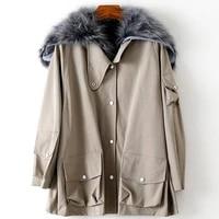 detachable rex rabbit fur loose parkas raccoon fur collar coats jackets for womens warm genuine fur overcoats winter plus size