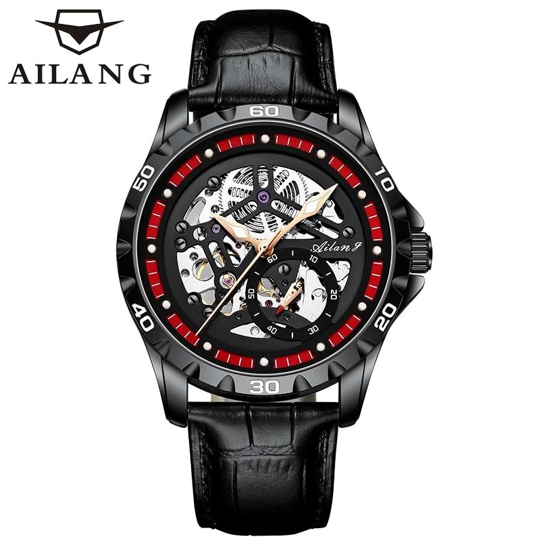 AILANG Fashion Casual Sport Waterproof Luminous Men's Wrist Watch Automatic Skeleton Tourbillon Mens Watches Brand Luxury 6021