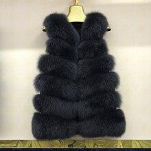 Gilet hiver veste réel fourrure de renard gilet femme chaud en peluche mode court grande taille gilet de fourrure
